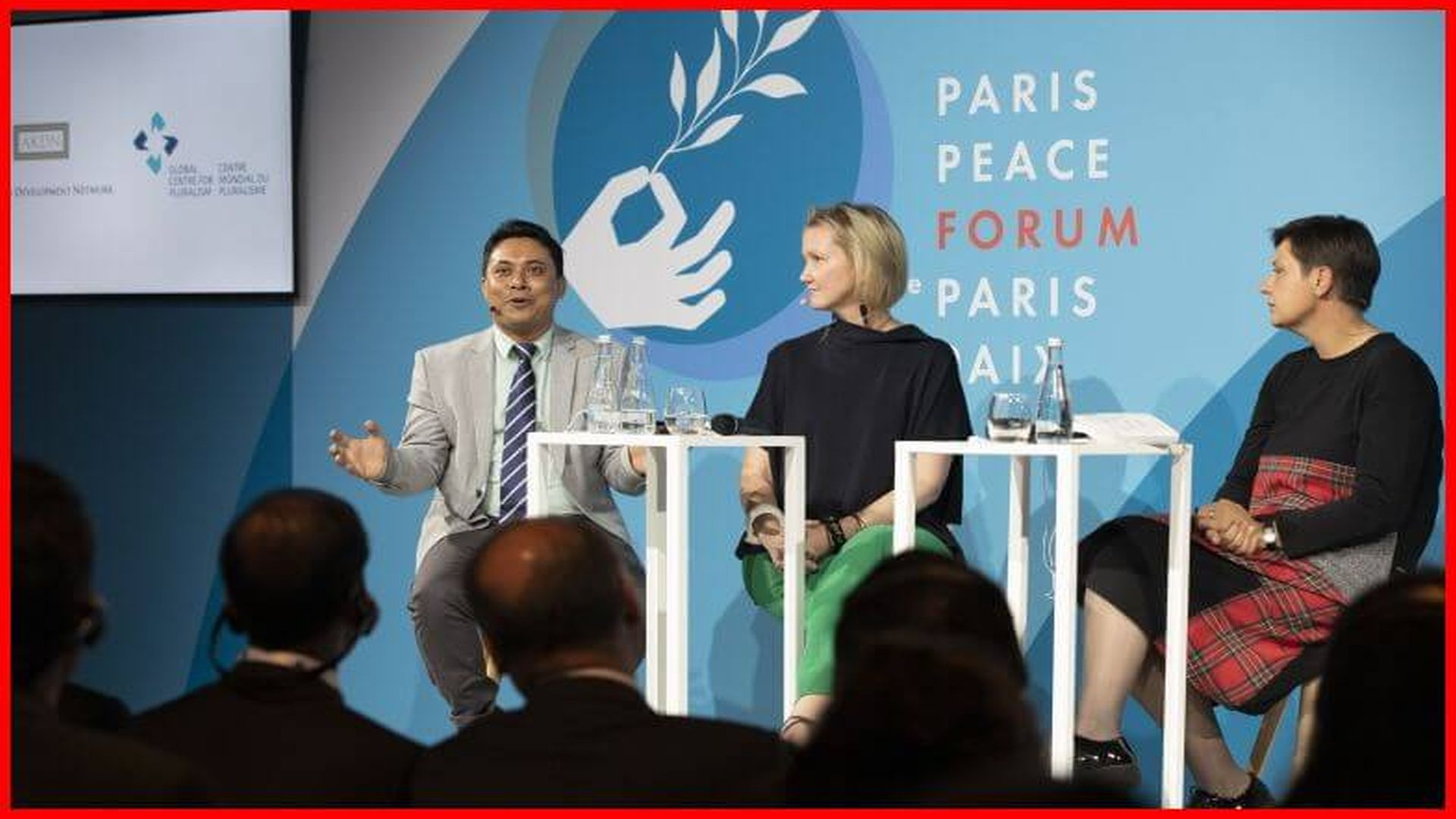 "From left to right: Aung Kyaw Moe, Executive Director of the Center for Social Integrity, Meredith Preston McGhie, Secretary General of the Global Center for Pluralism, and Bojana Dujković-Blagojević from the exchange ""Learning a story that is not back"" in a panel with the Title ""How can pluralism strengthen peace? Lessons from the winners of the GCP 2019"". Peace Forum in Paris, 12th November 2019. AKDN / Cécile Genest"